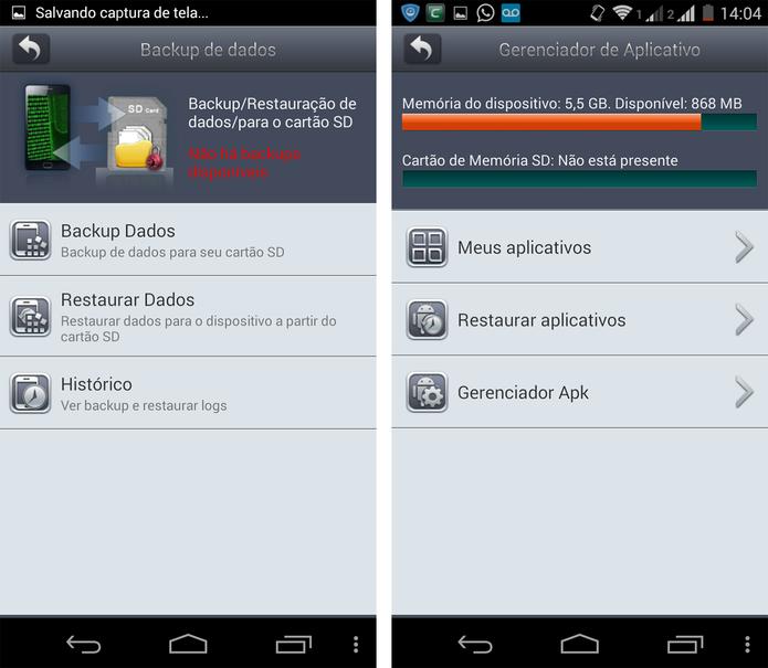 O Comodo Mobile Security é capaz de fazer backuo de arquivos e gerenciar aplicativos (Foto: Reprodução/ Marcela Vaz)