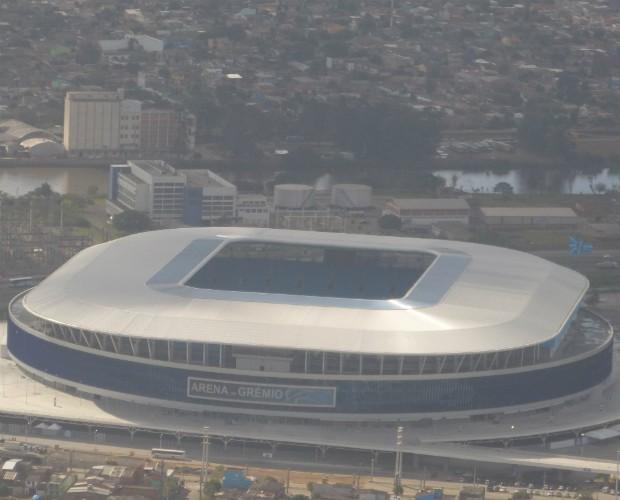 Arena do Grêmio recém construída é um dos locais de disputa do clássico do RS, o Grenal  (Foto: Domingão do Faustão/TVGlobo)