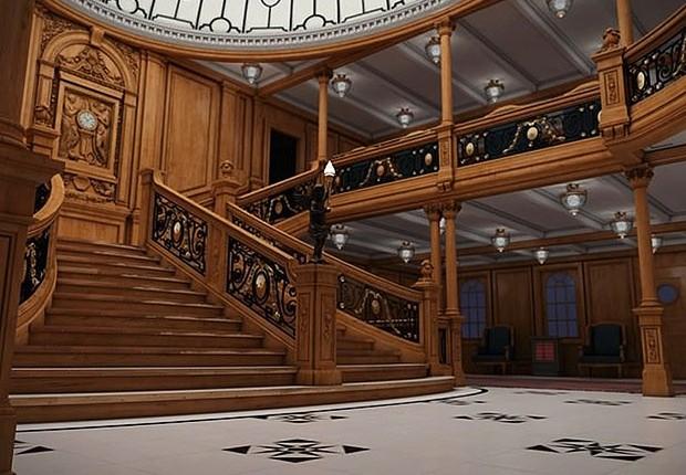 A escadaria do Titanic II é uma réplica perfeita do modelo original construído na embarcação há mais de 100 anos (Foto: Divulgação/Blue Line)