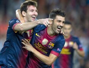 Messi e Villa, Barcelona x Spartak Moscou (Foto: Agência EFE)