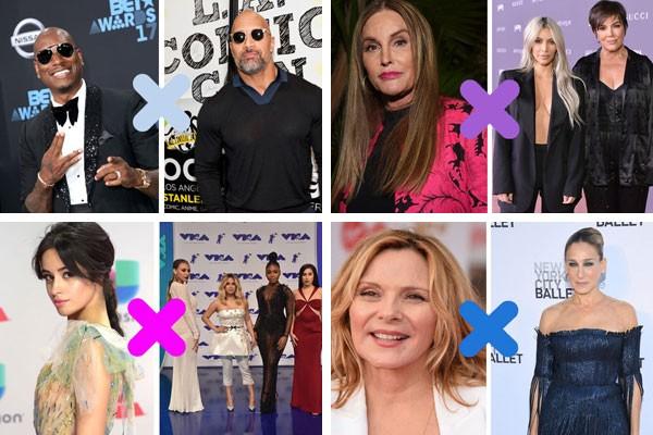 """Só para se ter uma ideia, em 2017 as brigas entre celebridades envolveram, por exemplo: Tyrese Gibson X Dwayne """"The Rock"""" Johnson; Caitlyn Jenner X Kardashians; Camila Cabello X Fifth Harmony e Kim Cattrall X Sarah Jessica Parker  (Foto: Getty Images)"""