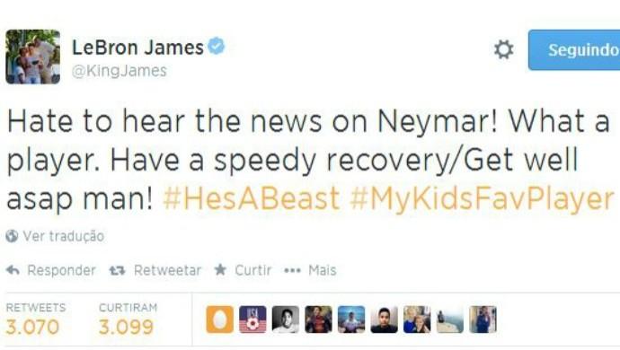 lebron james lamenta lesão de neymar (Foto: Reprodução/Twitter)