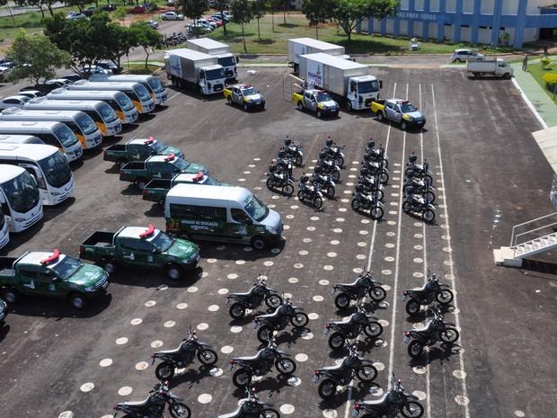Novos veículos serão distribuídos entre as unidades da PM no Tocantins (Foto: Divulgação/PM TO)