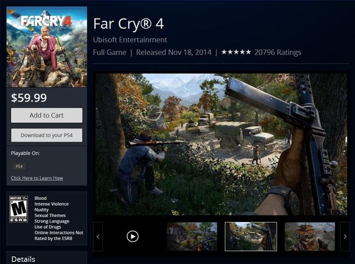 Página da versão de PS4 de Far Cry 4 (Foto: Reprodução/PlayStation Store)