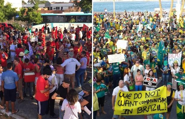 Fortaleza teve protestos contra Dilma e contra Temer neste domingo (Foto: TV Verdes Mares/Reprodução e Alessandro Torres/TV Verdes Mares)