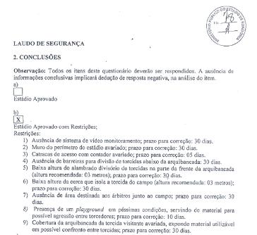 Laudo da Polícia Militar sobre o estádio Biancão, em Ji-Paraná (Foto: Reprodução)