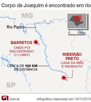 Corpo do menino Joaquim foi encontrado no Rio Pardo (Foto: Arte/ G1)