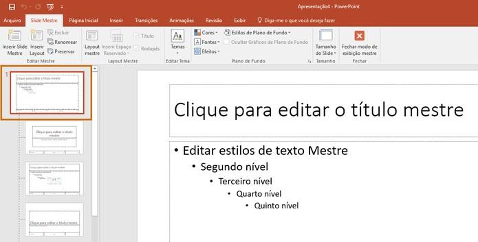 O Slide mestre é adicionado no topo da lista de slides (Foto: Reprodução/Barbara Mannara)