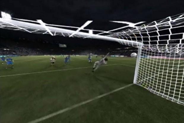 Câmera por trás do gol do Boca mostra Corinthians aumentando o placar (Foto: Reprodução)