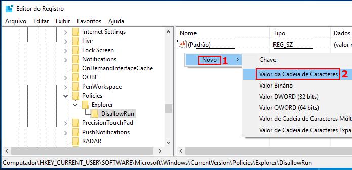 Criando um novo valor no registro do Windows dentro de DisallowRun (Foto: Reprodução/Edivaldo Brito