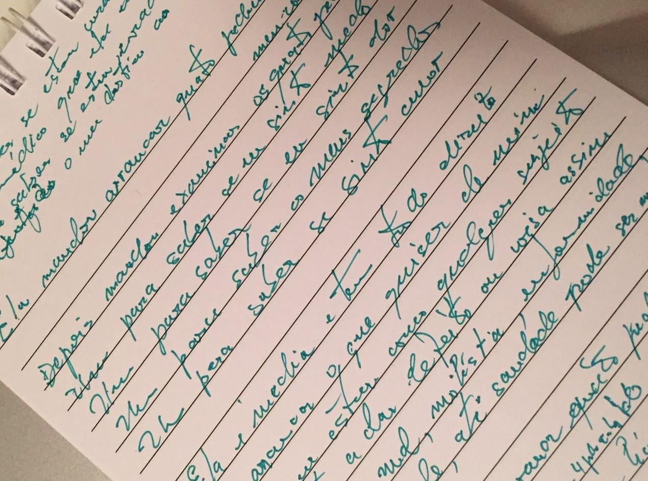 O rascunho da letra escrita por Gil em homenagem à médica