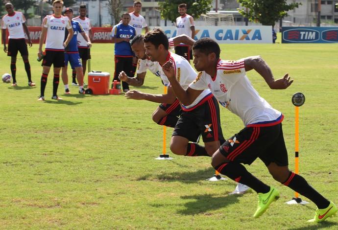 Eduardo da Silva, Márcio Araújo e Paulinho trabalham explosão (Foto: Gilvan de Souza / Flamengo)