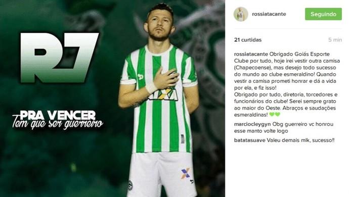 Rossi anuncia acerto com a Chapecoense (Foto: Reprodução / Instagram)