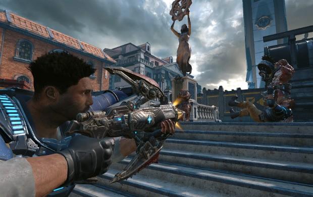 Em 'Dodgeball', novo modo multiplayer de 'Gears of War 4', abater um inimigo faz com que um aliado morto volte à partida. (Foto: Divulgação)
