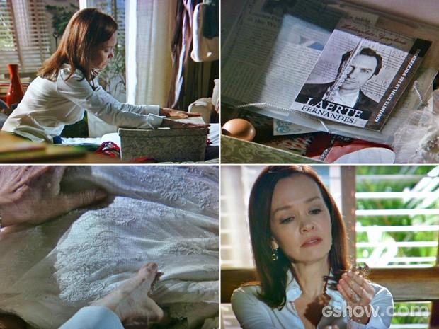 Helena abre caixa com todo o seu passado (Foto: Em Família/ TV Globo)