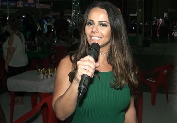 Viviane Araújo discursou brevemente em festa da Mancha Verde (Foto: Divulgação)