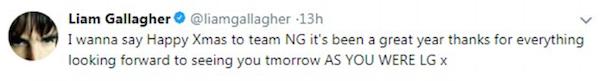 A mensagem na qual Liam Gallagher deseja feliz Natal ao irmão Noel Gallagher (Foto: Twitter)
