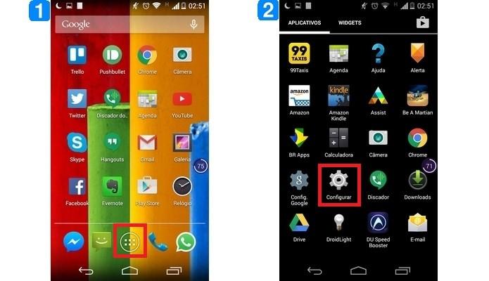 Destaques para ícones que dão acesso às configurações do Android (Foto: Reprodução/ Raquel Freire)