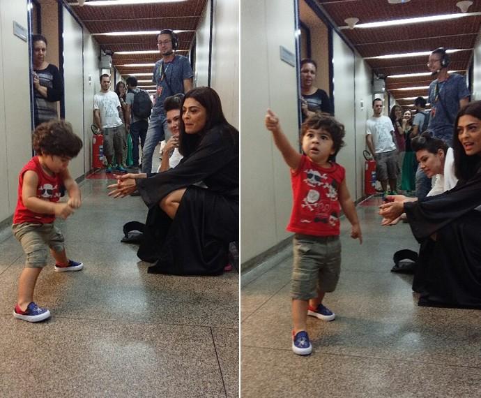 Juliana Paes com o filho Antonio (Foto: Ivo Madoglio / TV Globo)