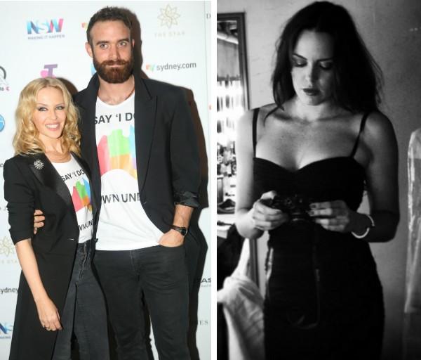 A cantora Kylie Minogue, seu ex-noivo, o ator Joshua Sasse, e a atriz Marta Milans (Foto: Getty Images/Instagram)
