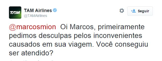 TAM em resposta ao apresentador Marcos Mion no Twitter (Foto: Reprodução)