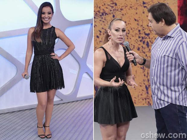 Naka defende amizade e Aline se justifica no palco do Domingão (Foto: Domingão do Faustão/TV Globo)