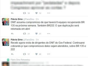 Flávio Dino informou sobre reunião com Dnit pelas redes sociais (Foto: Reprodução/Twitter)