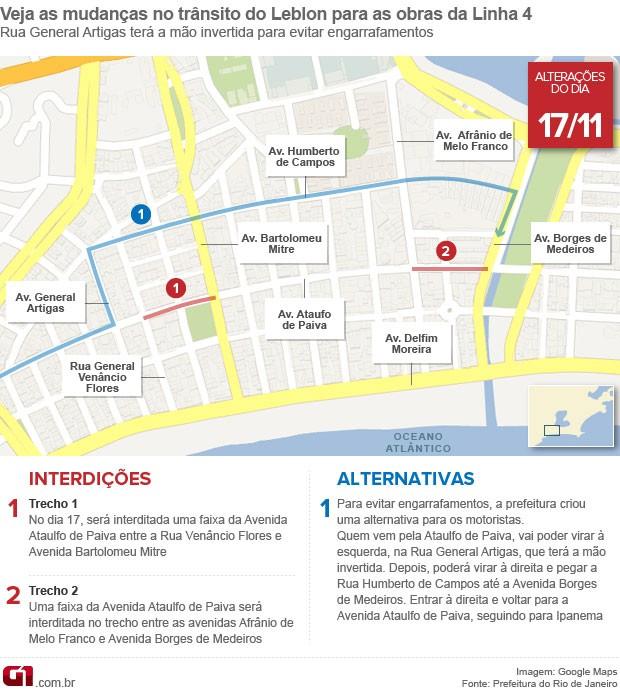 Mudanças no trânsito da Zona Sul do Rio por conta das obras da Linha 4 do Metrô - dia 17 (Foto: Editoria de Arte/G1)