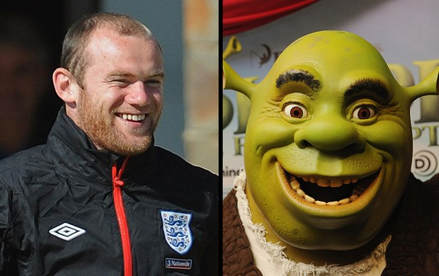 Rooney, jogador da Inglaterra e Shrek, personagem (Foto: Getty Images)
