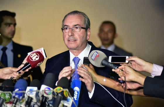 Eduardo Cunha (PMDB-RJ) fala sobre a decisão unânime do STF que suspendeu seu mandato de deputado federal (Foto: Zeca Ribeiro / Câmara dos Deputados)