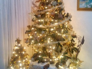 Rafael de Oliveira, de Mogi das Cruzes, mandou foto de decoração de Natal feita com pinha, cola quente e spray dourado, acompanhada da árvore tradicional e dourada (Foto: Rafael de Oliveira/VC no G1)