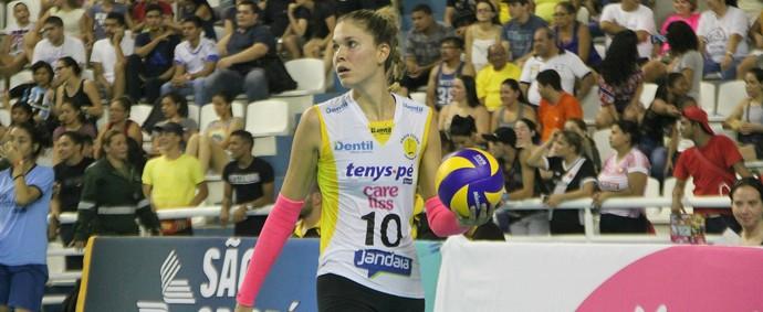 Alix Klineman foi eleita a melhor jogadora da partida. A ponteira anotou, ao todo, 12 pontos (Foto: Gabriel Machado)