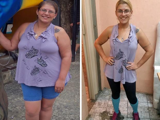 Jocilene descobriu um linfoma quatro meses após o nascimento do filho. Em três anos ela emagreceu 48 kg (Foto: Arquivo pessoal/Jocilene Melo)