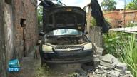 Carro tomado de assalto é encontrado após um mês sem peças e até motor