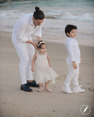 Wesley Safadão com os filhos Yhudy e Ysys (Foto: Reprodução/Instagram)
