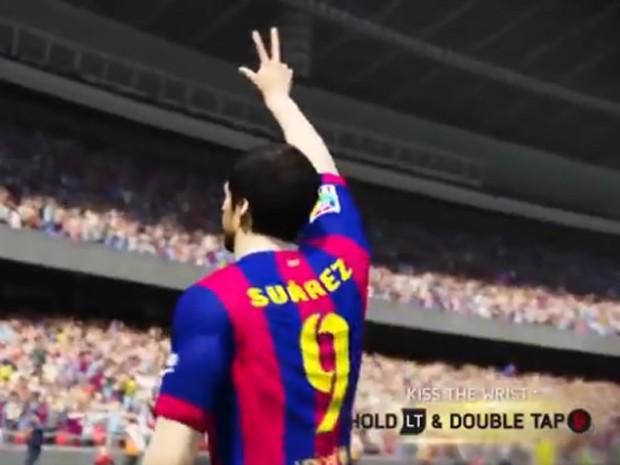 Uruguaio Suárez comemora gol com pose que ficou famosa na Copa do Mundo (Foto: Reprodução/Electronic Arts)