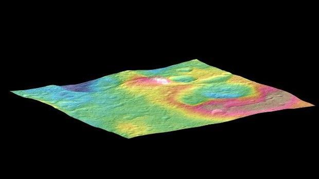 Outra imagem mostrou uma montanha de seis quilômetros de altura em Ceres (Foto: NASA/JPL-Caltech/UCLA/MPS/DLR/IDA/PSI)