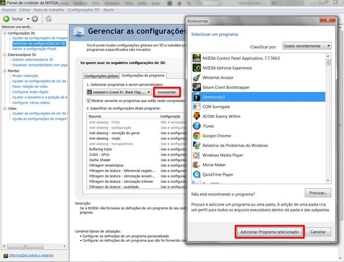 """Apertando """"Acrescentar"""", o usuário poderá adicionar jogos e aplicativos que não tenham sido listados (Foto: Reprodução/Daniel Ribeiro)"""