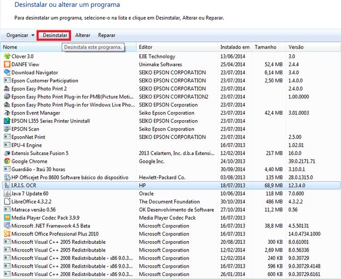 Lista de programas instalados no computador (Foto: Reprodução/ Marcela Vaz)