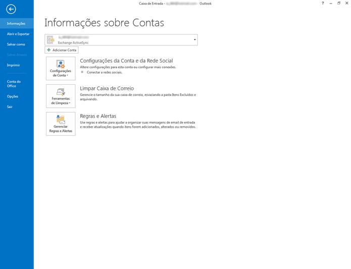 """Para adicionar outra conta às suas configurações do Outlook, clique em """"Adicionar conta""""  (Foto: Reprodução/ Lu Fávero)"""