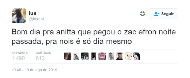 Usuários comentam encontro de Anitta e Zac Efron no Twitter (Foto: Reprodução/Twitter)