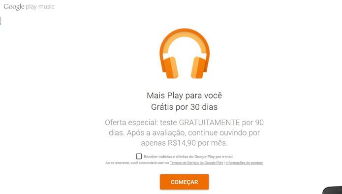Google Play Music oferece período de testes de 90 dias gratuitos do pacote Premium (Foto: Reprodução/Barbara Mannara)