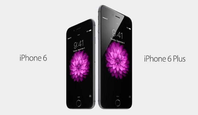 iPhone 6 e iPhone 6 Plus com tamanhos de tela diferentes (Foto: Divulgação/Apple)