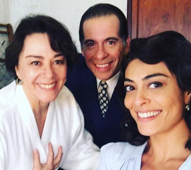 Nivea Maria, Leandro Hassum e Juliana Paes nos bastidores de Dona Flor e Seus Dois Maridos (Foto: Reprodução/Instagram)