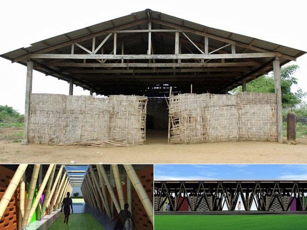 A escola de bambu atual e o projeto arquitetônico da nova construção (Foto: Divulgação)
