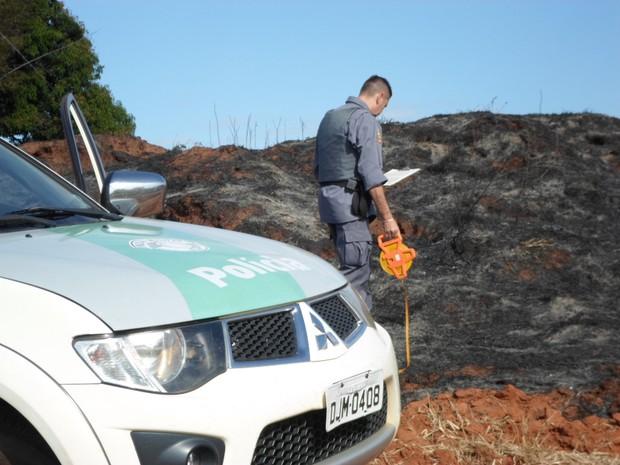 Policiais ambientais fiscalizaram a área após a denúncia (Foto: Polícia Ambiental / Divulgação)