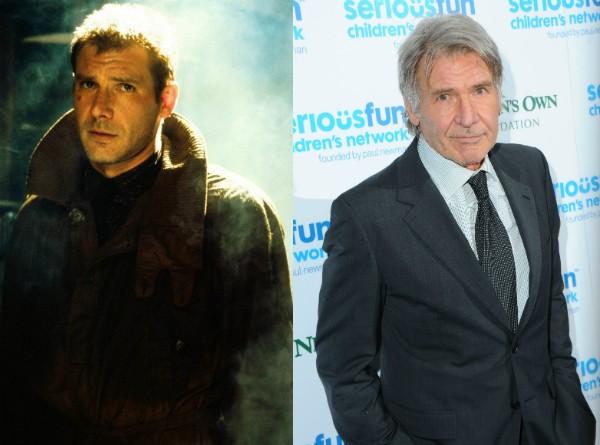 Harrison Ford aos 40 anos em 'Blade Runner' e hoje, aos 73 (Foto: Getty Images/Divulgação)