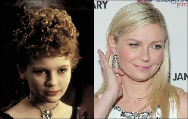 Kirsten Dunst tinha só 12 anos quando fez a rebelde Claudia de 'Entrevista Com o Vampiro' (1994), que lhe rendeu uma indicação ao Globo de Ouro de Melhor Atriz Coadjuvante. A estrela de 'Melancolia' (2011) tem hoje 32 anos. (Foto: Reprodução e Getty Images)