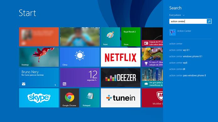 Procure pela central de ações no Windows 8 (Foto: Reprodução/Thiago Barros)