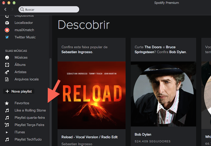 Acessando as playlists do Spotify (Foto: Reprodução/Marvin Costa)